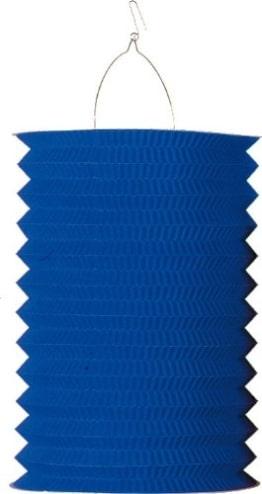 Zuglaterne: blau, 25 cm Höhe, mit Kerzenhalter - 1