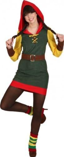 Zwergin-Kostüm: Kleid, Kapuze und Gürtel, grün, rot, gelb, verschiedene Größen - 1